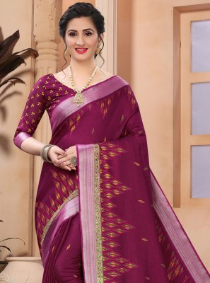 Wine Casual Printed Saree