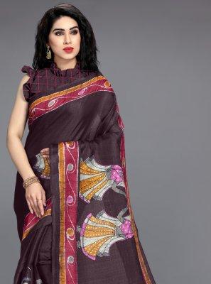 Wine Casual Printed Saree