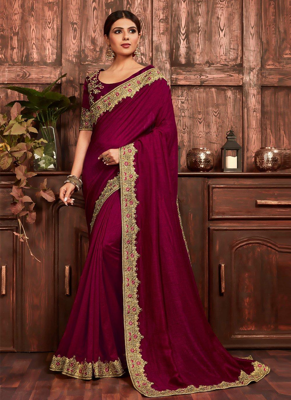 Wine Ceremonial Traditional Designer Saree