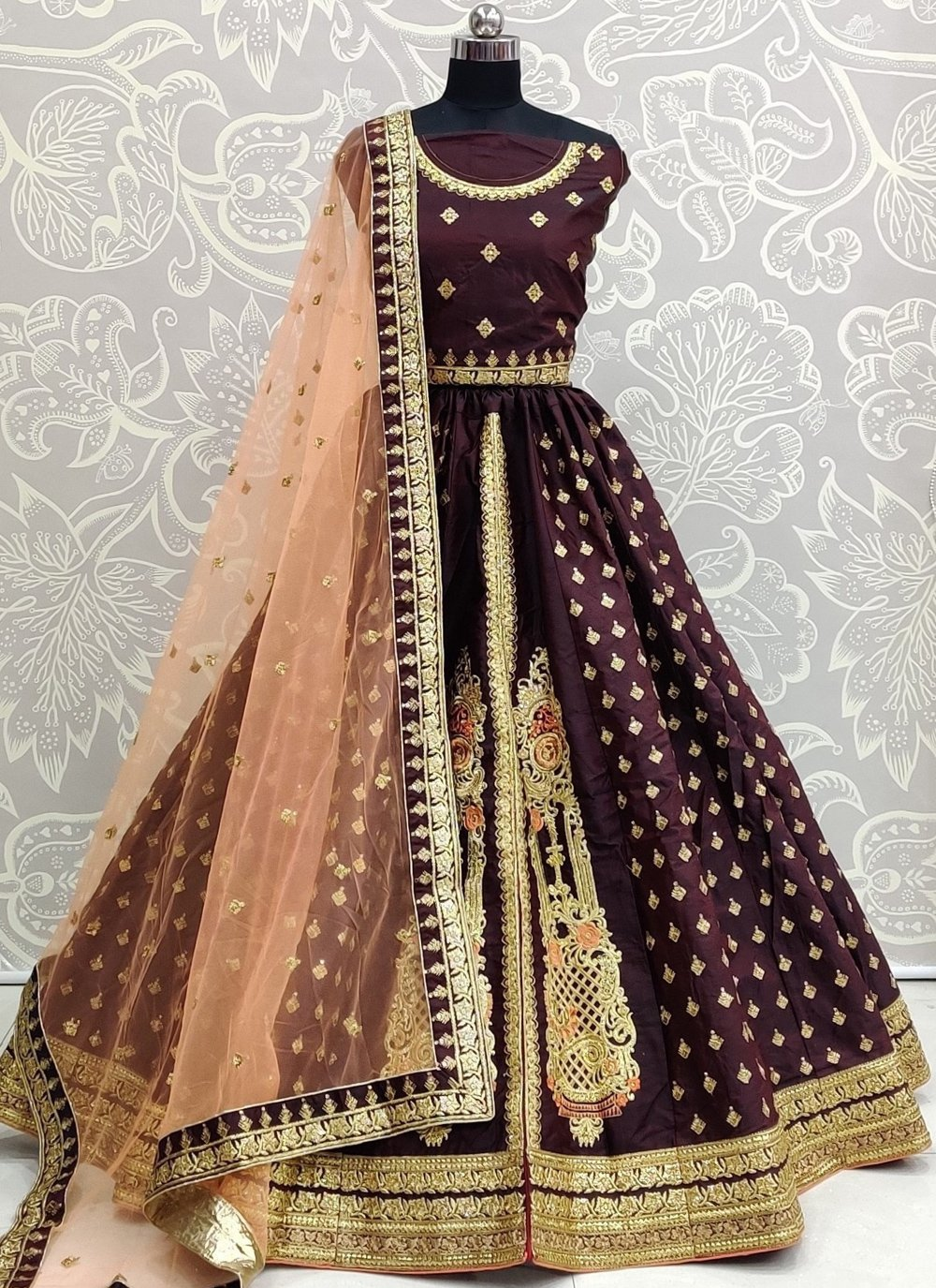 Wine Color Bollywood Lehenga Choli