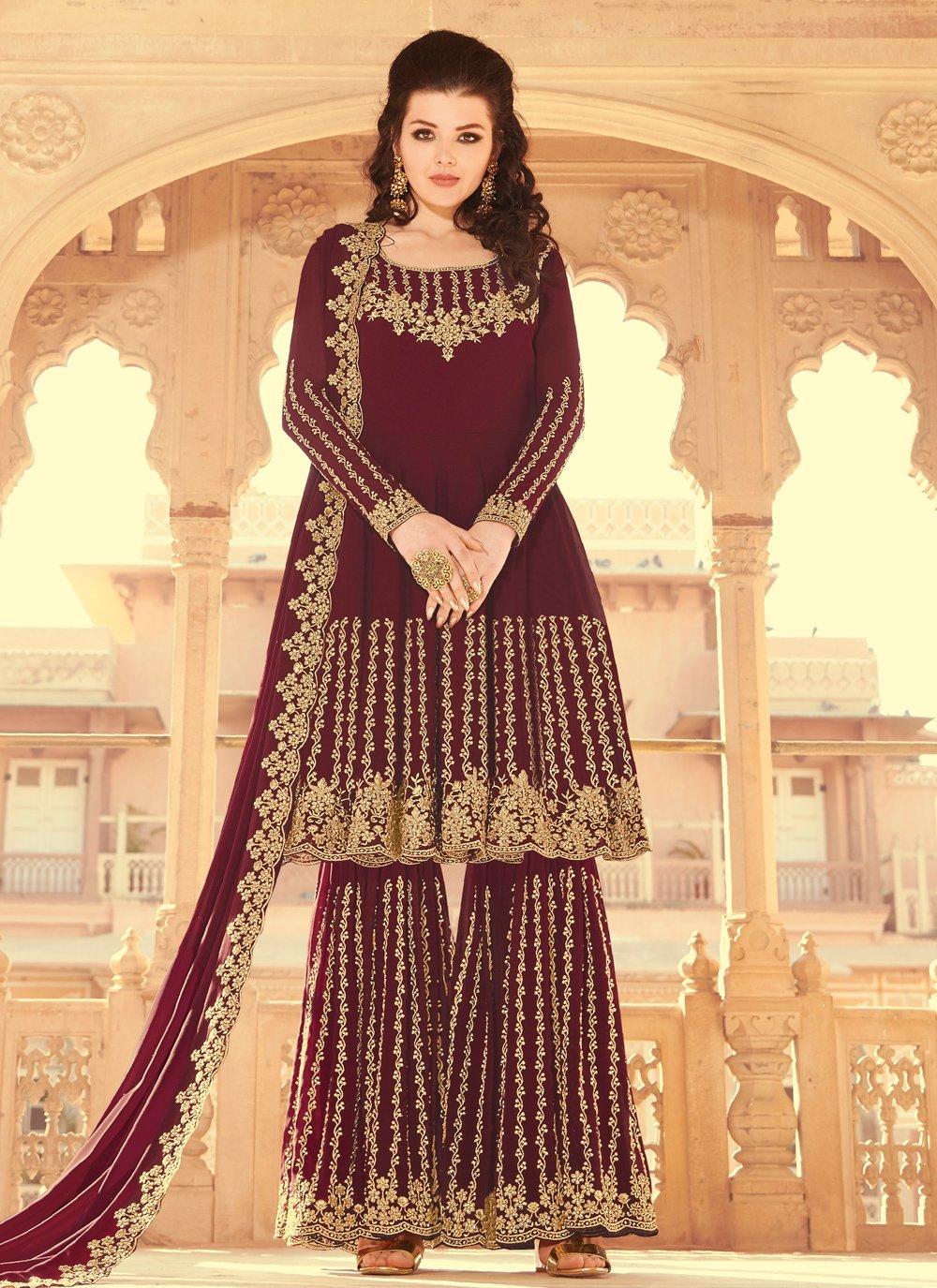 Wine Color Designer Pakistani Salwar Suit