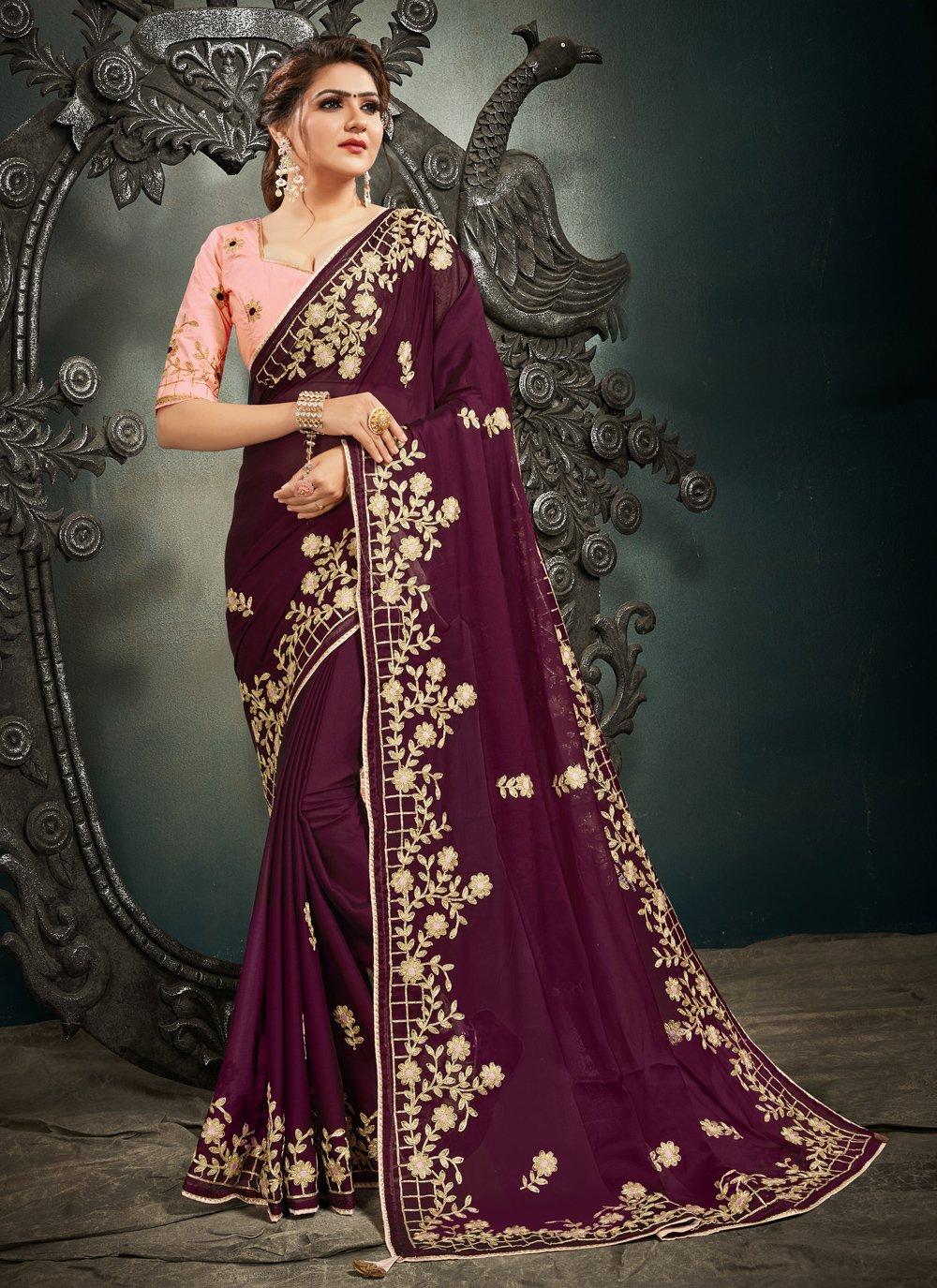 Wine Color Designer Saree