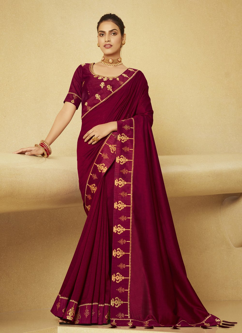 Wine Color Designer Traditional Saree