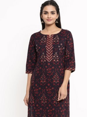 Wine Cotton Party Wear Kurti