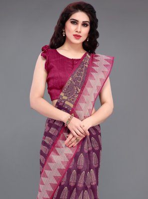 Wine Cotton Printed Saree