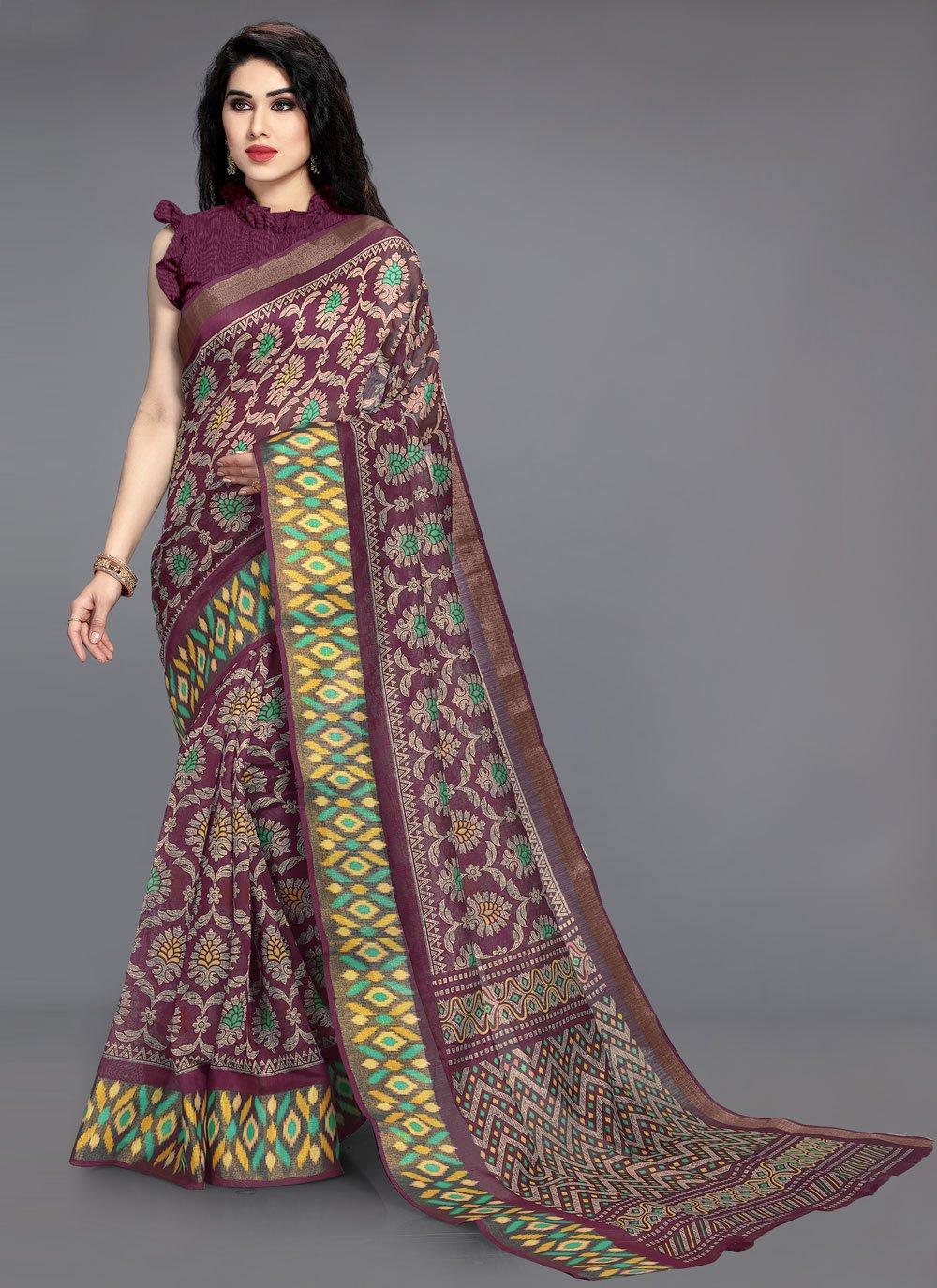 Wine Cotton Printed Saree