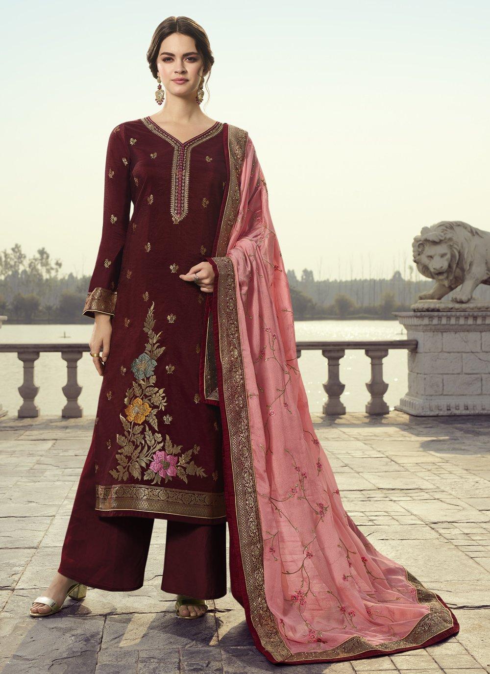 Wine Designer Pakistani Suit