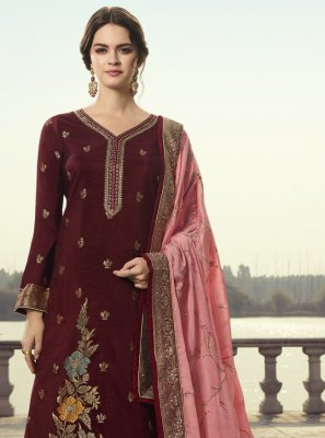 Wine Designer Pakistani Suit