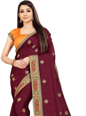 Wine Embroidered Contemporary Saree