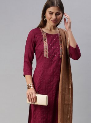 Wine Embroidered Faux Chiffon Pant Style Suit