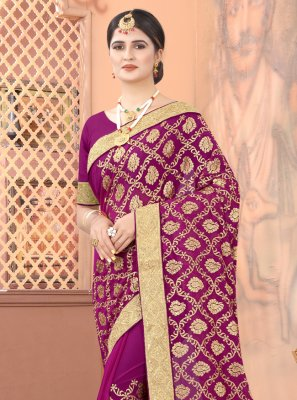 Wine Embroidered Faux Georgette Classic Designer Saree