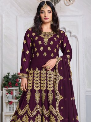 Wine Embroidered Georgette Designer Salwar Kameez