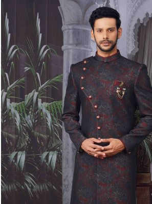 Wine Embroidered Jacquard Indo Western