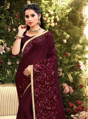 Wine Embroidered Rangoli Bollywood Saree