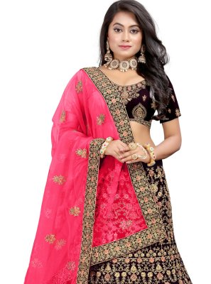 Wine Embroidered Sangeet Lehenga Choli