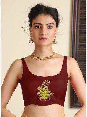 Wine Embroidered Satin Silk Blouse
