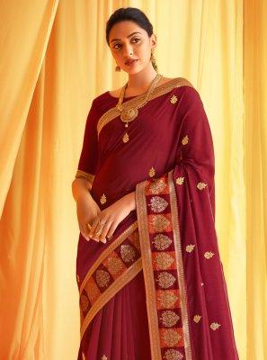 Wine Embroidered Silk Classic Designer Saree