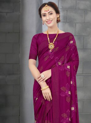Wine Embroidered Silk Designer Traditional Saree
