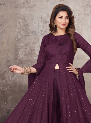 Wine Embroidered Trendy Salwar Kameez