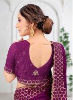 Wine Embroidered Vichitra Silk Silk Saree