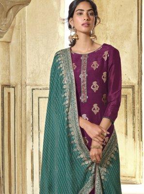 Wine Engagement Designer Pakistani Suit