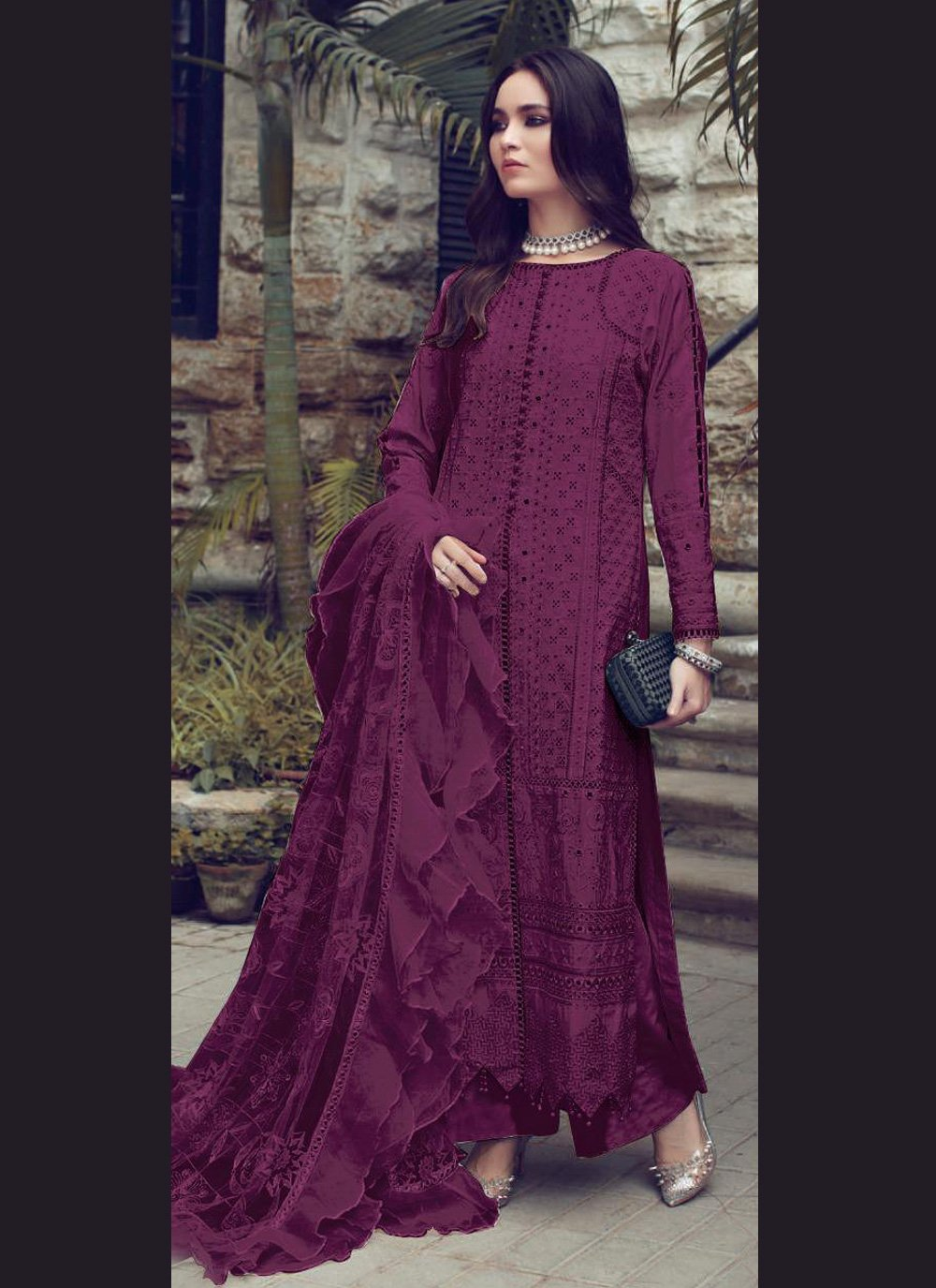 Wine Fancy Fabric Fancy Designer Straight Suit