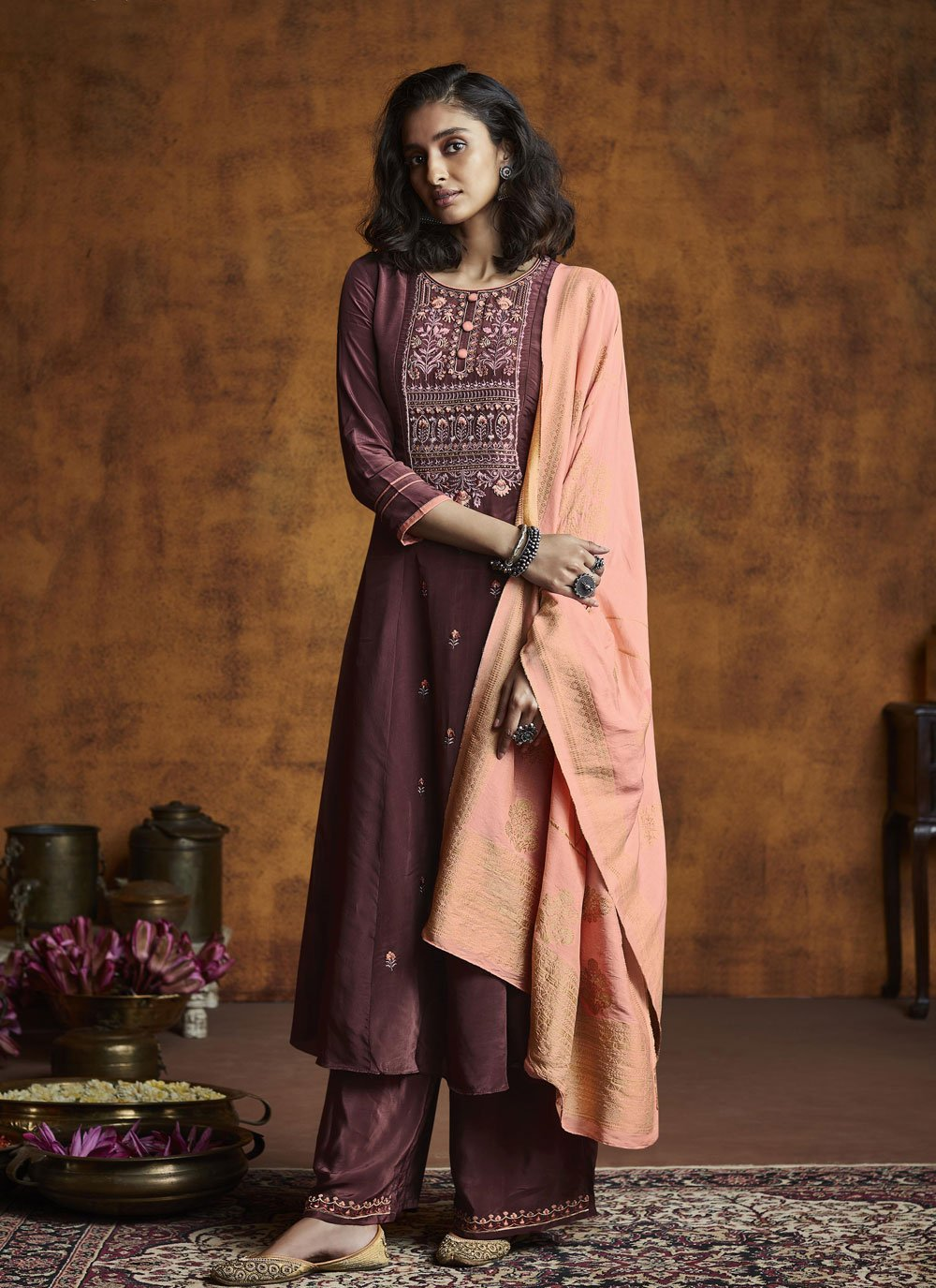 Wine Festival Silk Designer Palazzo Suit