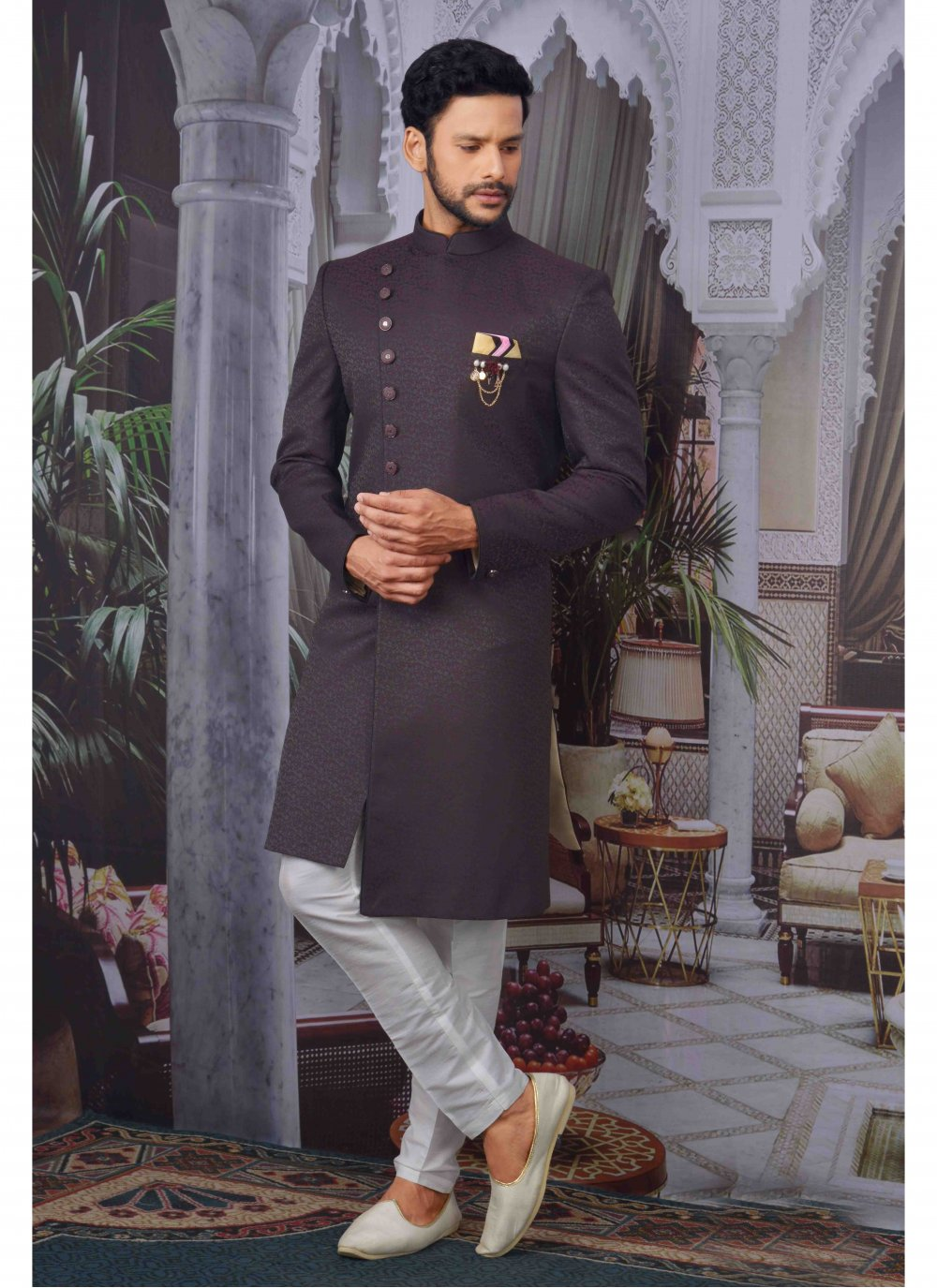 Wine Jacquard Embroidered Indo Western
