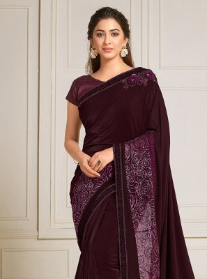 Wine Mehndi Trendy Saree