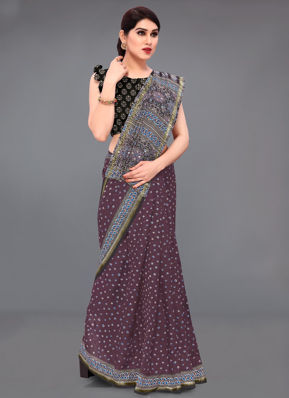 Wine Printed Saree