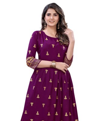 Wine Rayon Foil Print Party Wear Kurti