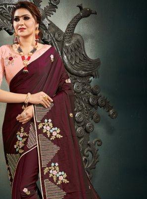 Wine Resham Mehndi Designer Saree