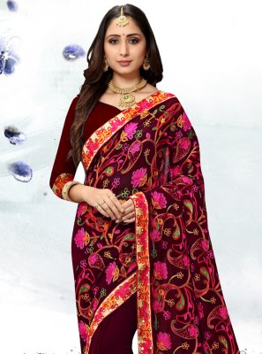 Wine Resham Trendy Saree