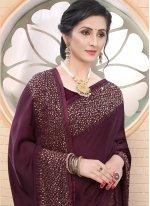 Wine Satin Festival Classic Designer Saree