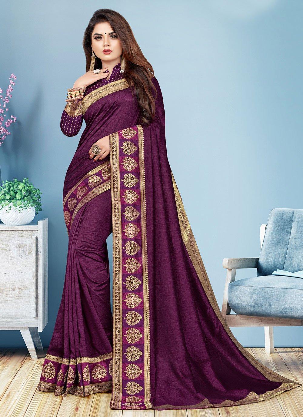 Wine Silk Designer Saree