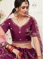Wine Silk Embroidered Bollywood Lehenga Choli
