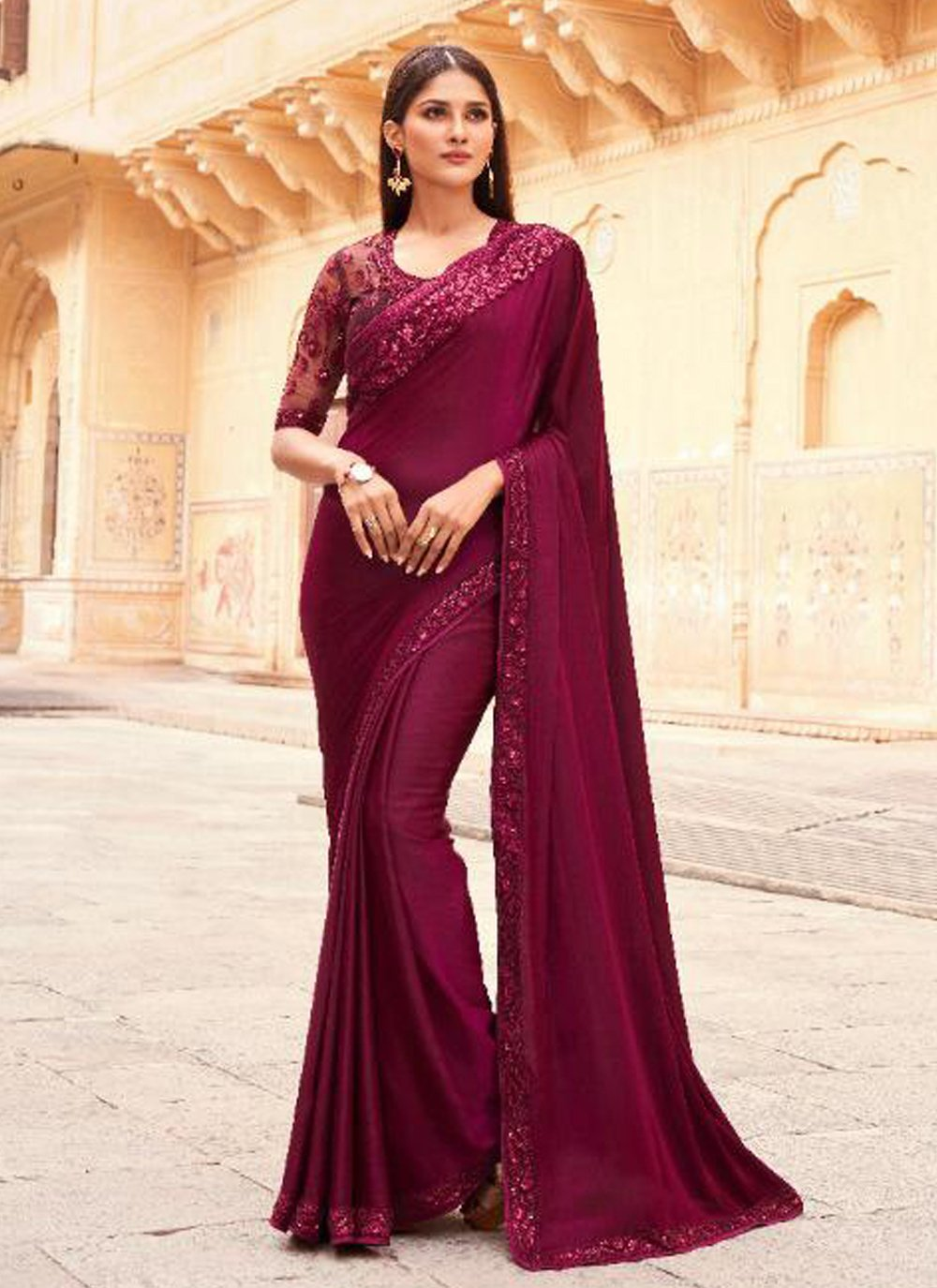 Wine Silk Embroidered Designer Traditional Saree