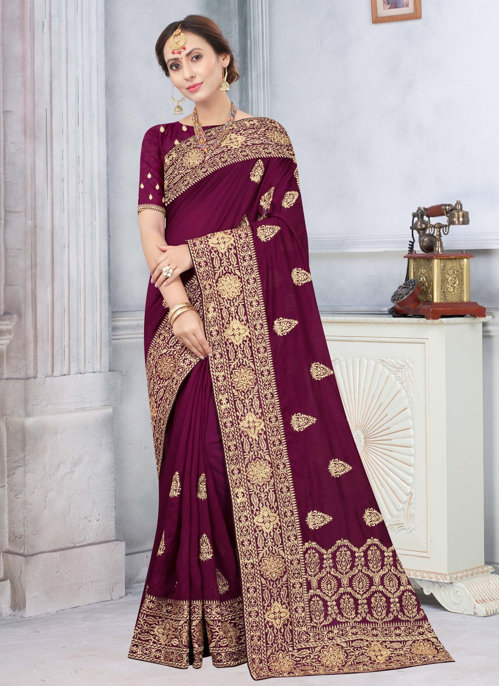 Wine Silk Embroidered Traditional Saree