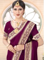 Wine Silk Festival Traditional Designer Saree