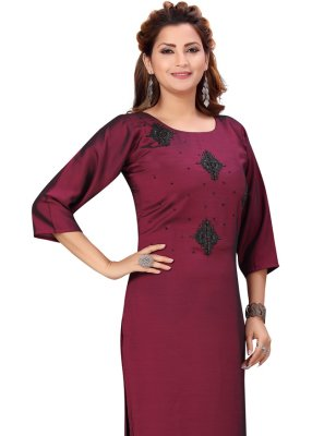 Wine Silk Party Wear Kurti