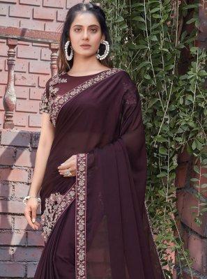 Wine Silk Patch Border Designer Saree