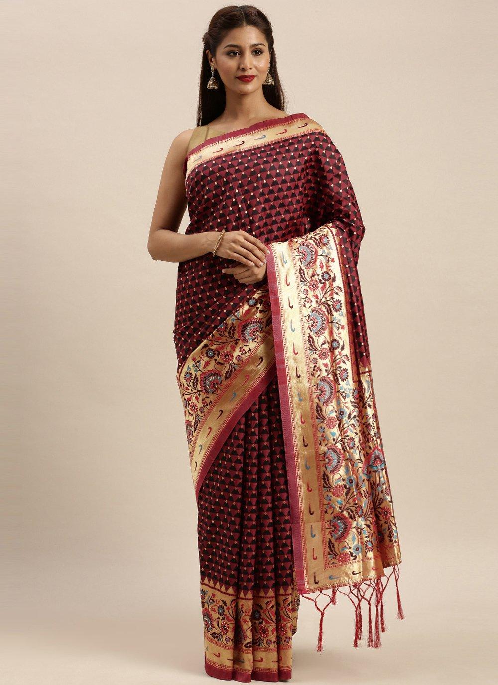 Wine Silk Traditional Designer Saree