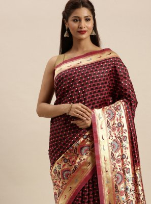 Wine Silk Traditional Designer Saree