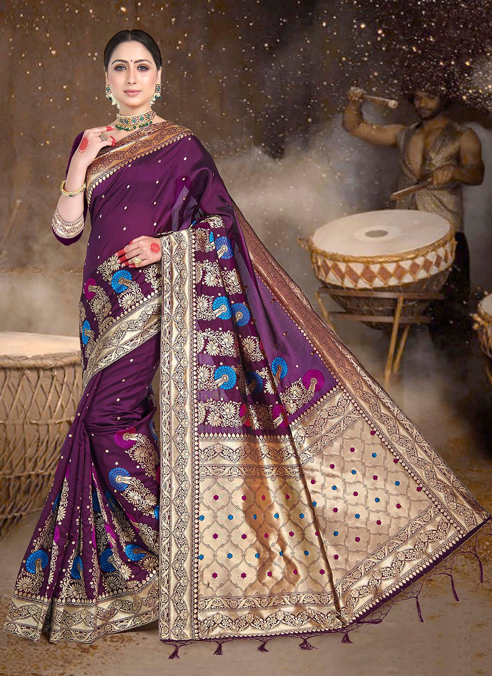 Wine Weaving Trendy Saree