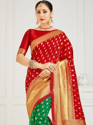 Woven Art Banarasi Silk Half N Half Designer Saree