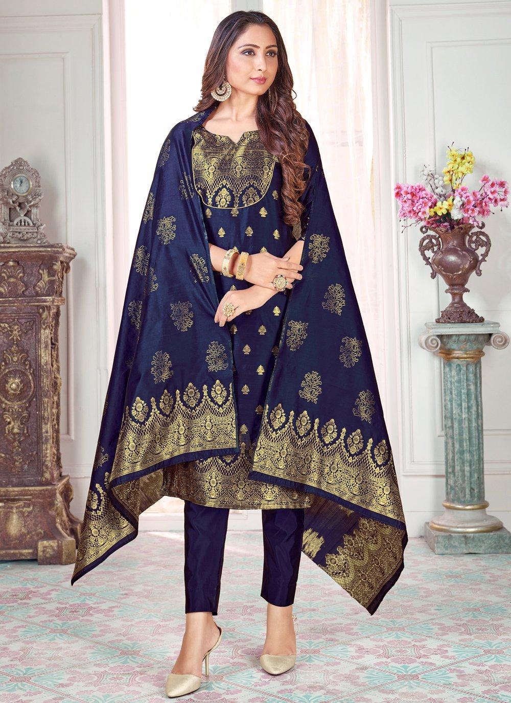 Woven Art Banarasi Silk Navy Blue Pant Style Suit