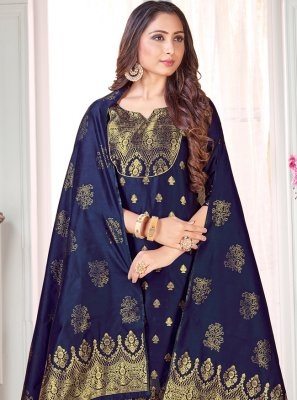 Woven Art Banarasi Silk Navy Blue Pant Style Suit