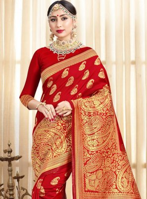 Woven Art Banarasi Silk Traditional Saree in Red