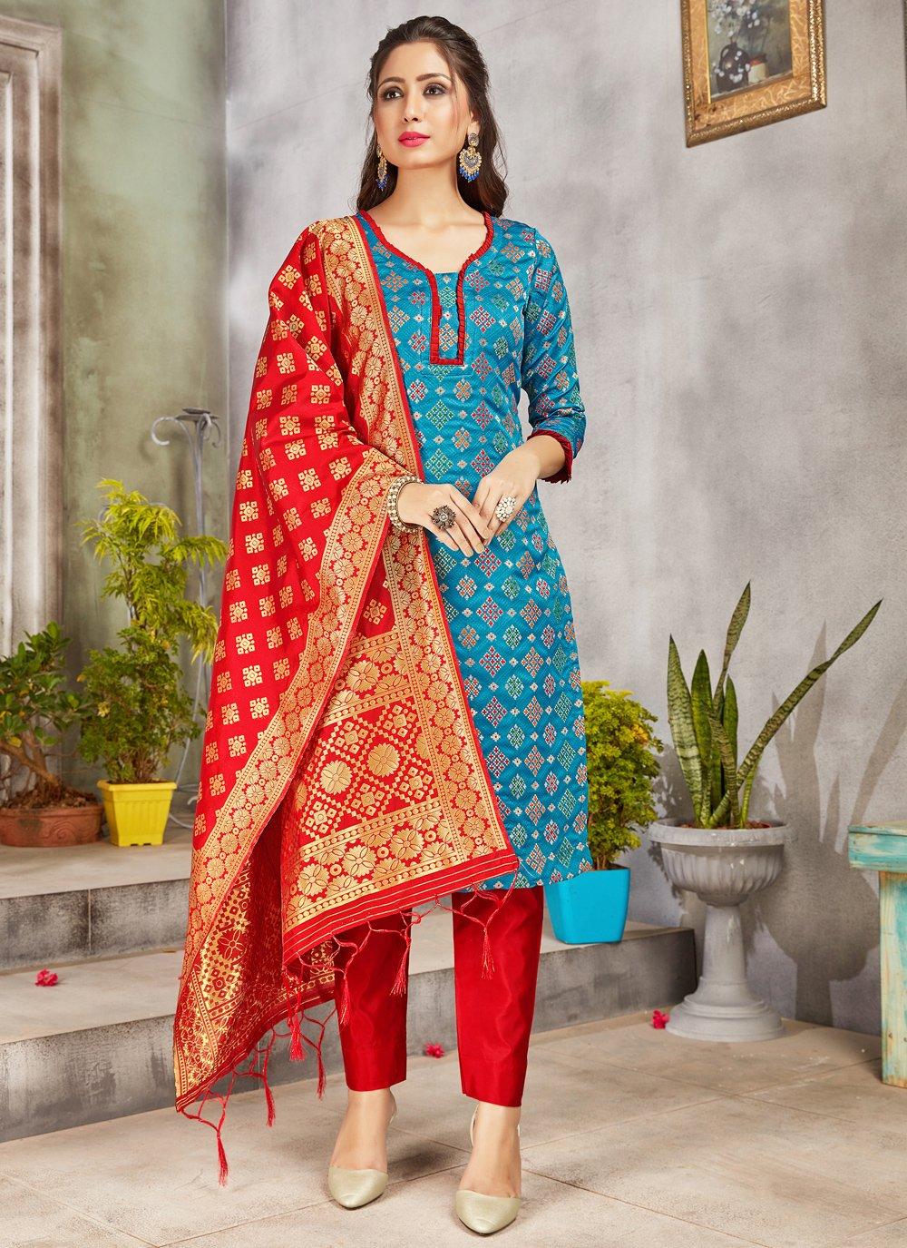 Woven Art Banarasi Silk Turquoise Pant Style Suit
