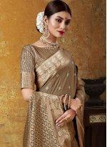 Woven Art Silk Brown Contemporary Saree